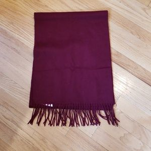 NWOT Wool & Cashmere Scarf, Wine